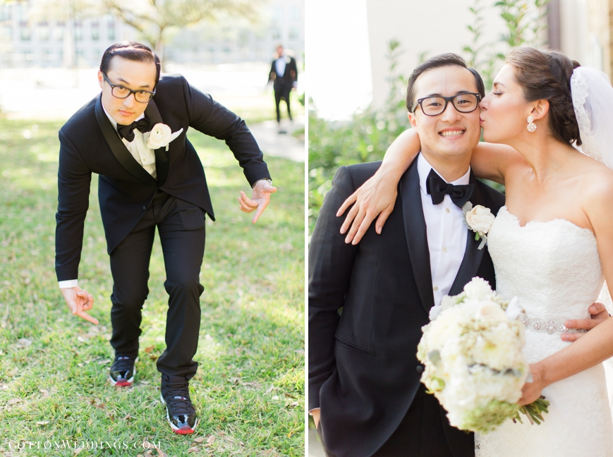 groom pointing at shoes bride kissing on cheek