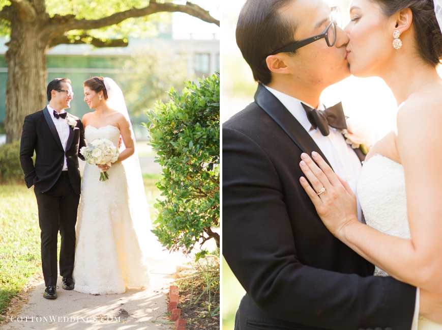 bright sunny portrait of bride and groom