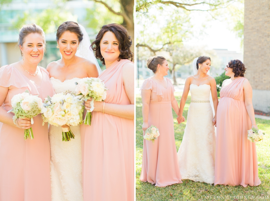bride with sisters blush dresses