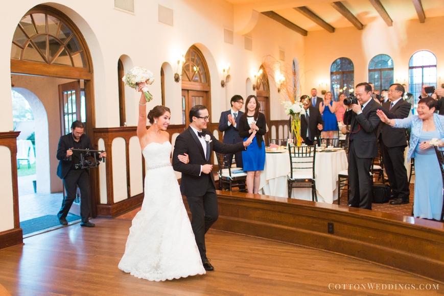 bride and groom's entrance into reception parador houston