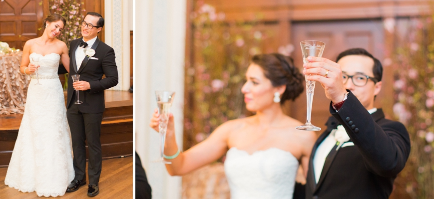 bride and groom raising their glass