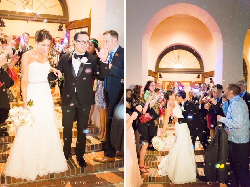 bride and groom bubble exit parador