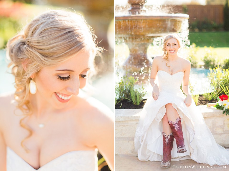 blonde bride showing off boots