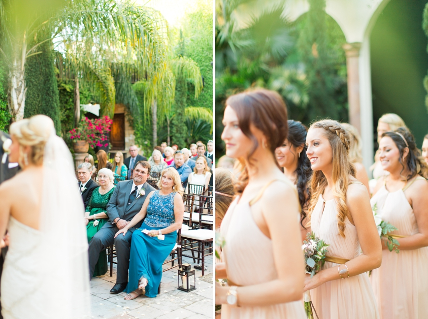 beautiful bridesmaids watching ceremony