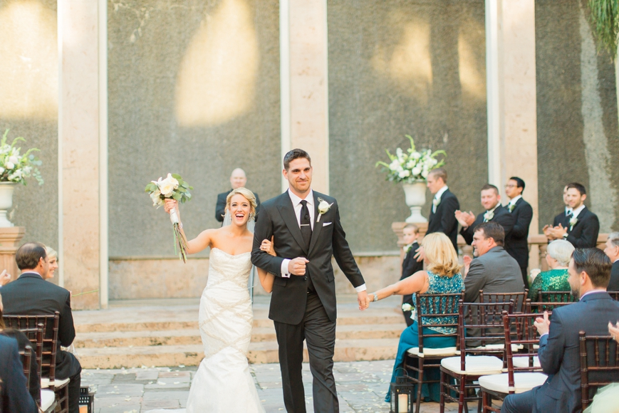 bride and groom recessional down the aisle