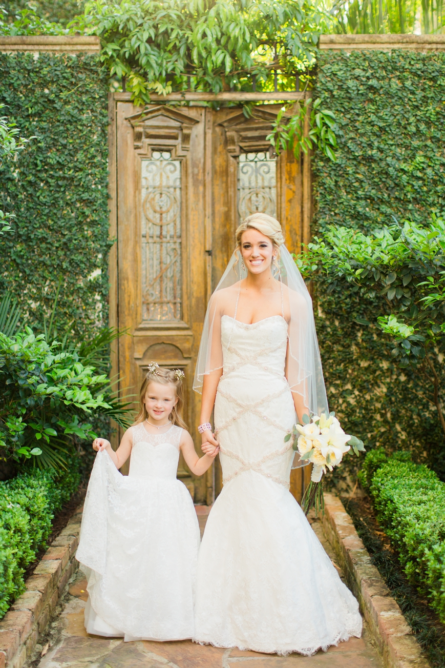 adorable photo of flower girl and bride