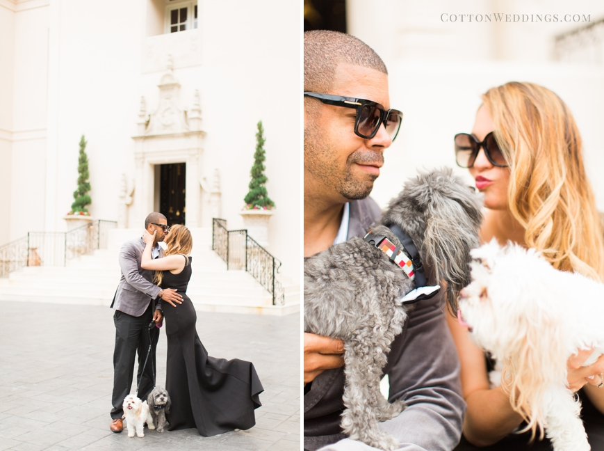 adorable couple with dogs kissing chateau cocomar
