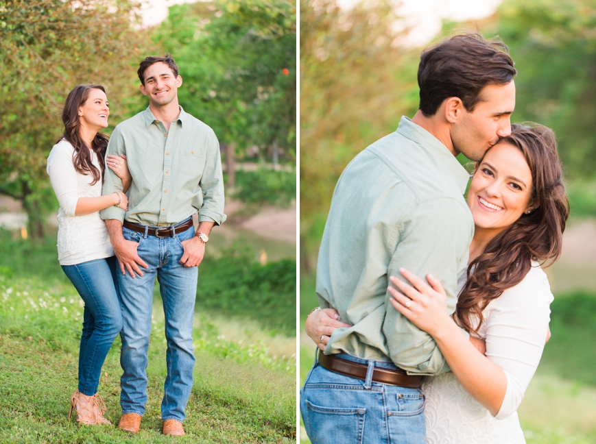 soft portrait of engaged couple hugging girl looking at guy
