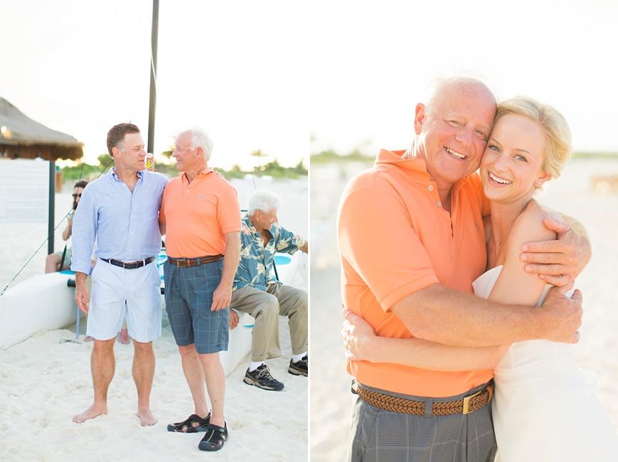 bride hugging dad on beach at rehearsal