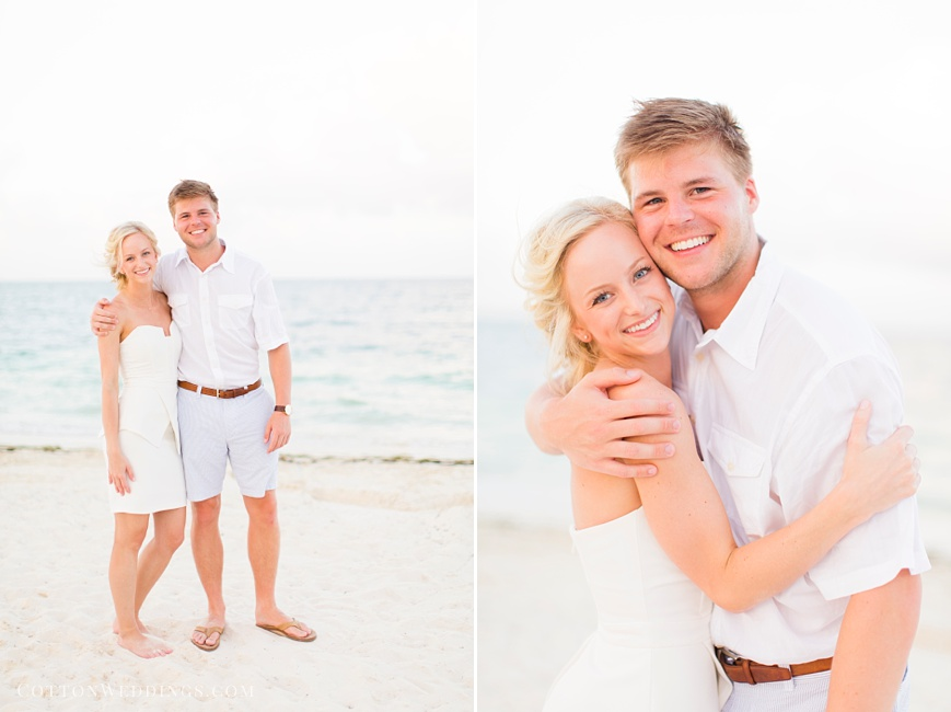 beautiful bride and groom on beach for rehearsal