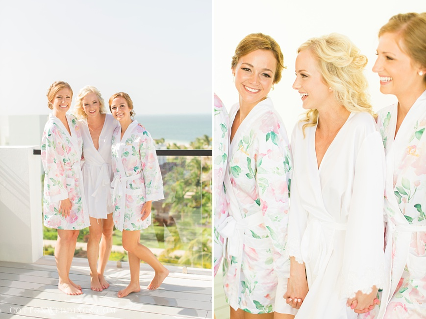bride with maids of honor in robes