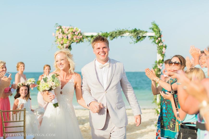 Cancun destination wedding ceremony exit