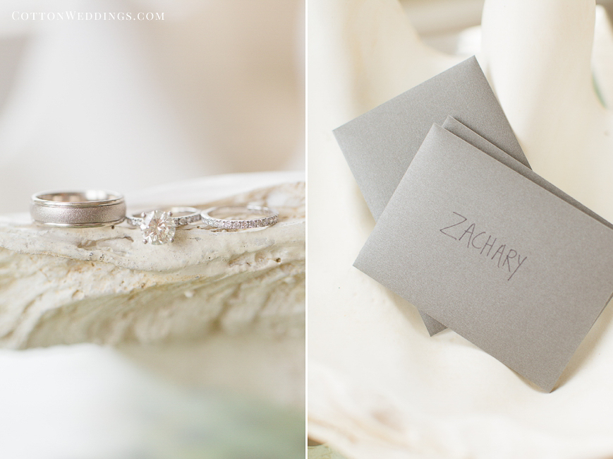 wedding ring detail on seashell