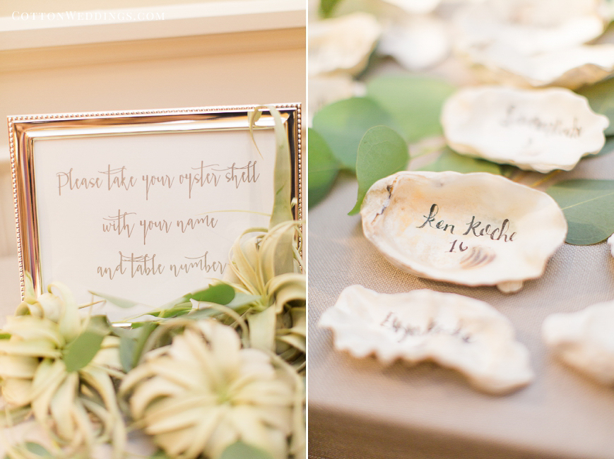 oyster shell calligraphy name cards