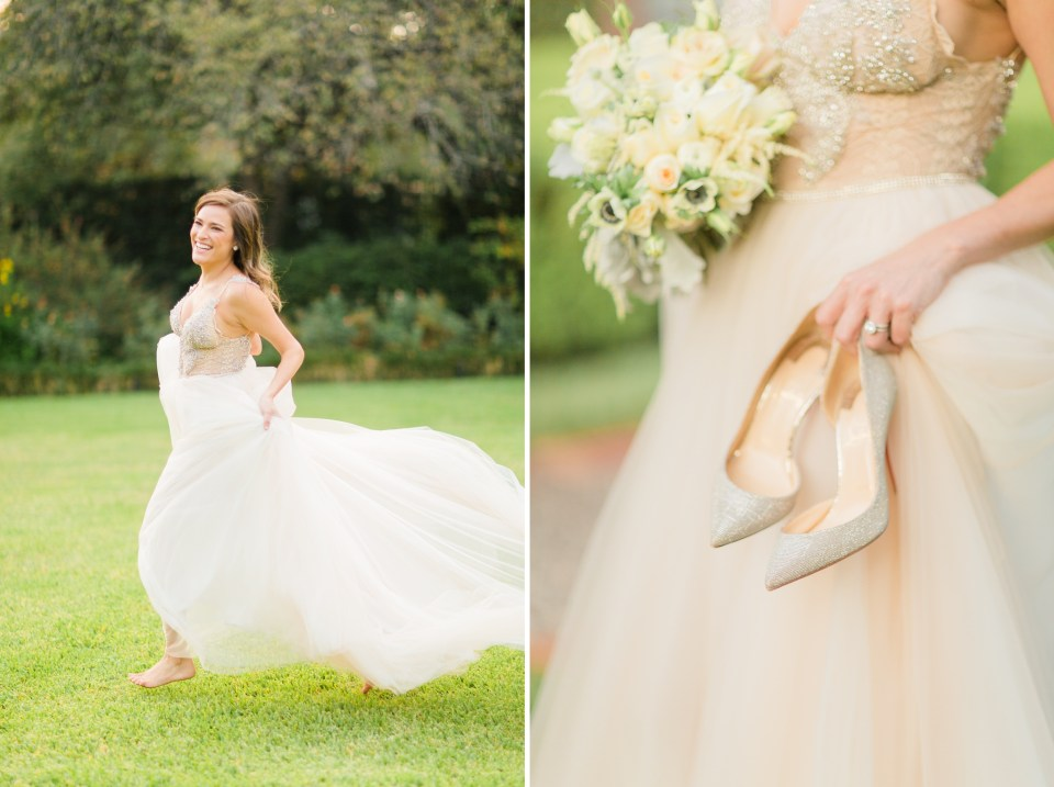 bride running in her glamorous bridal gown