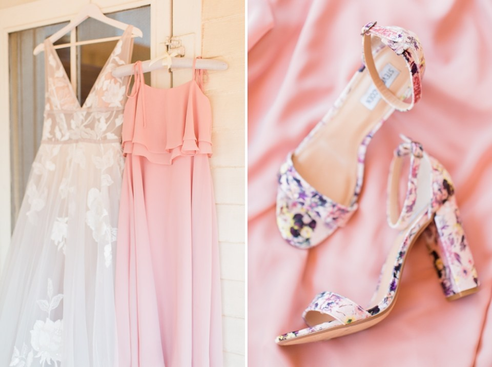 unique wedding dress and floral shoes