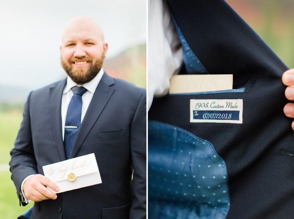 groom vows in blue suit