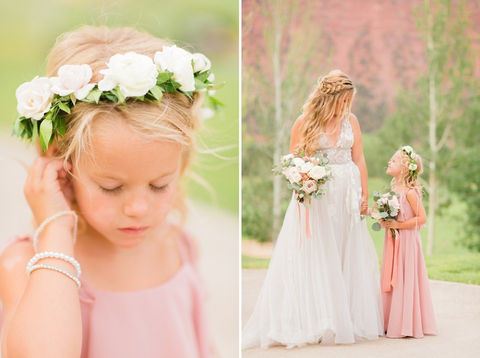 pink dress pink mountains colorado wedding
