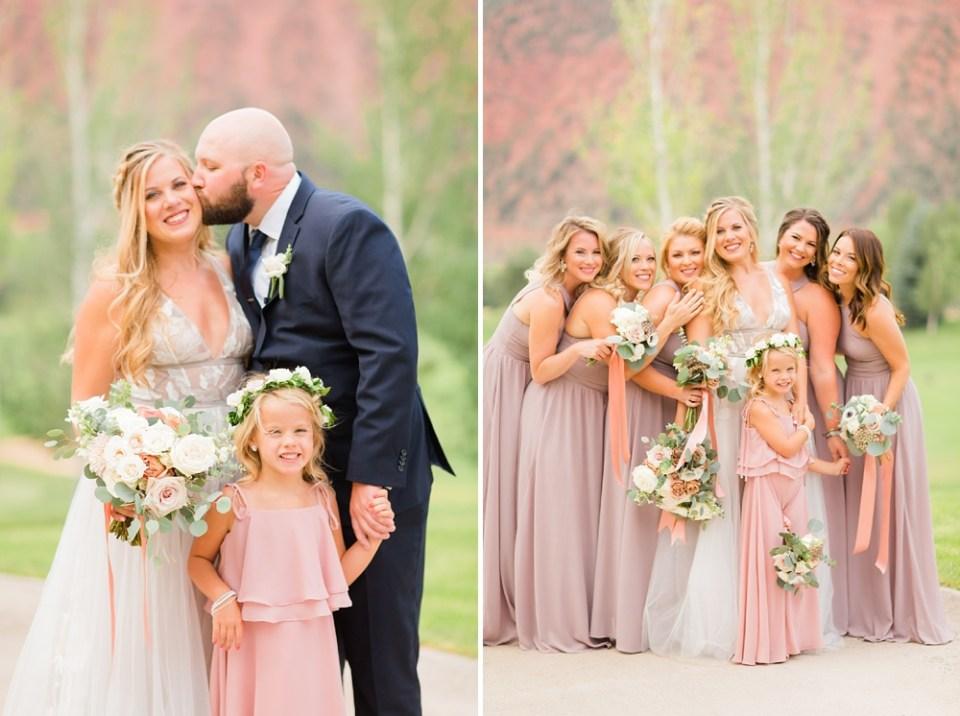 Pink mountain destination wedding