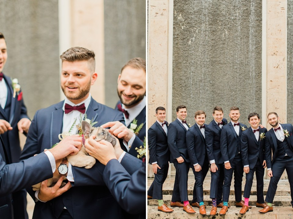 groom party and french bull dog