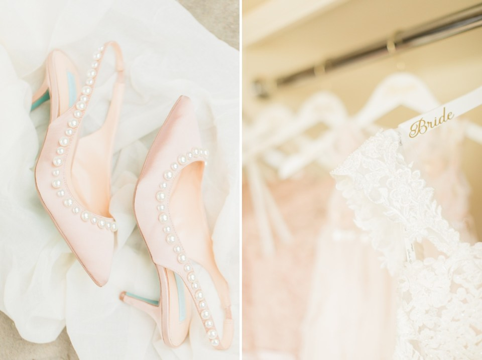 bride dress and shoes details