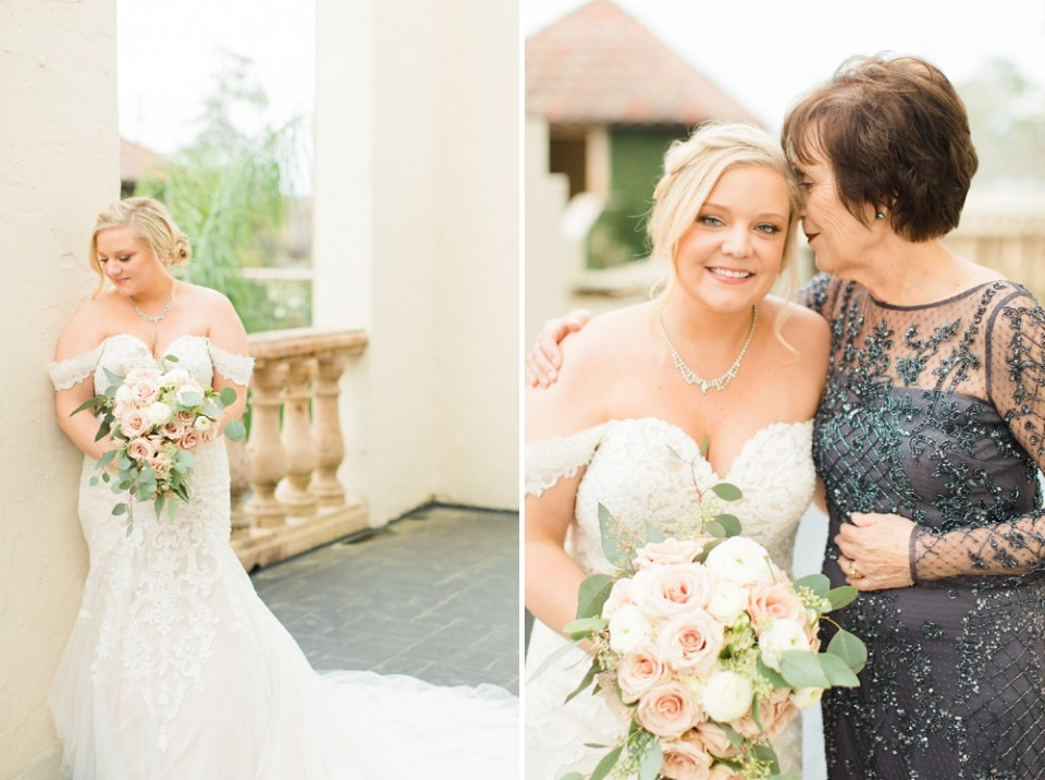 mother and bride on wedding day