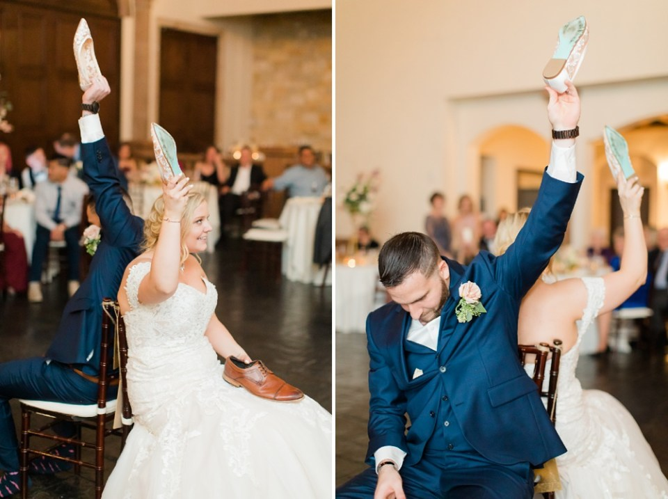 bride and groom wedding reception game
