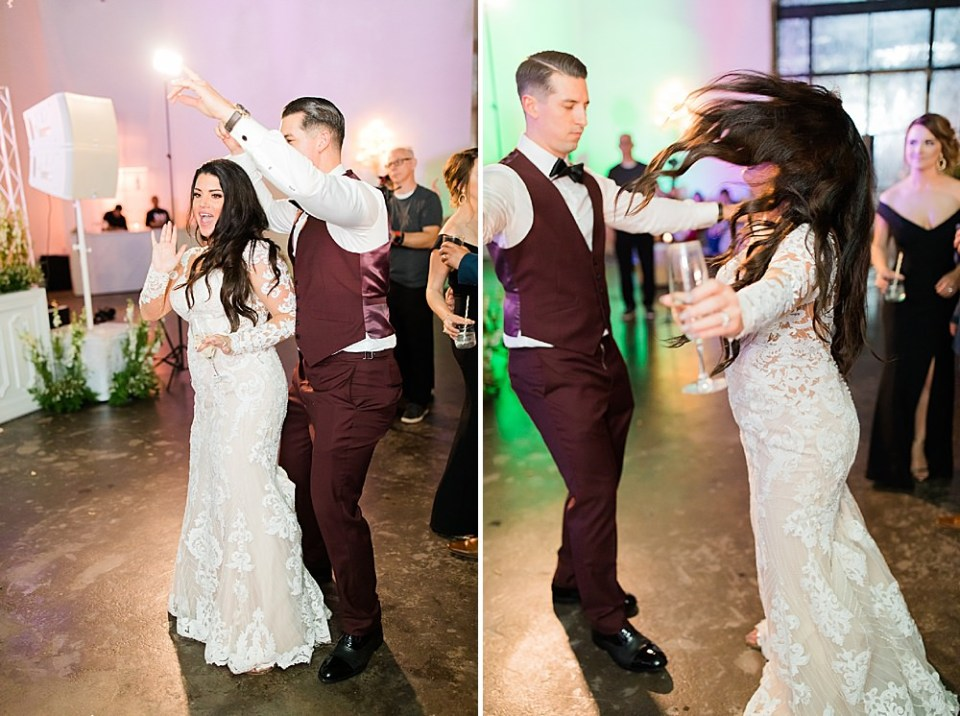 dancing bride and groom