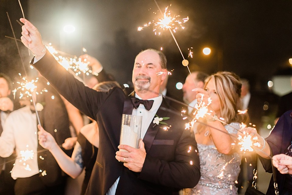 sparklers at wedding exit