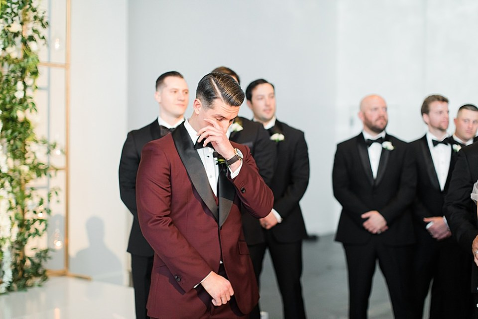 emotional groom at the ceremony