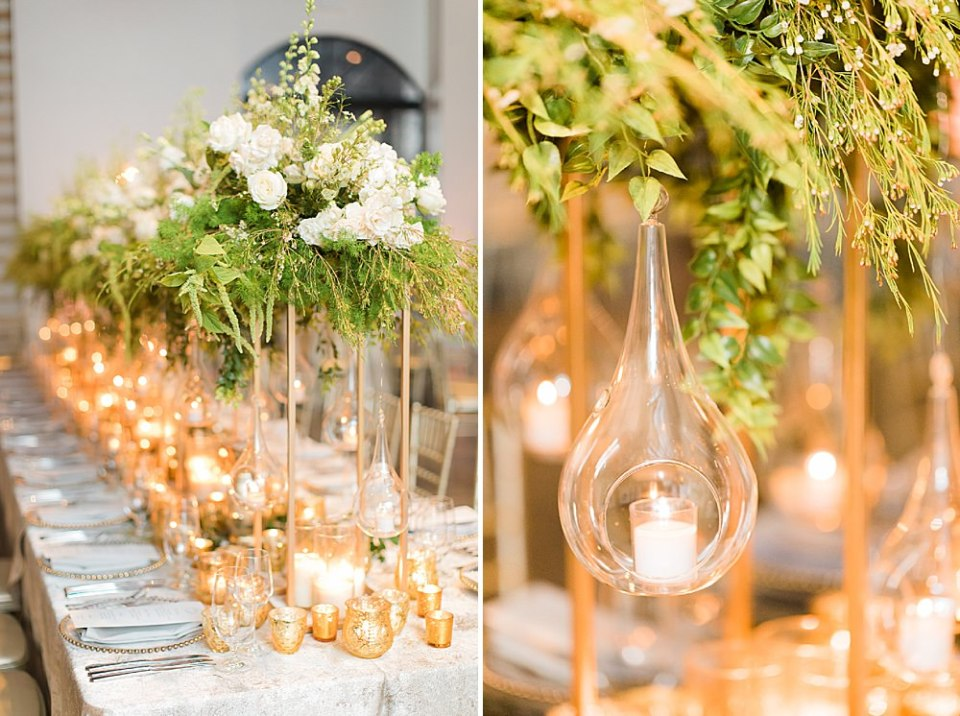 floral details at the reception