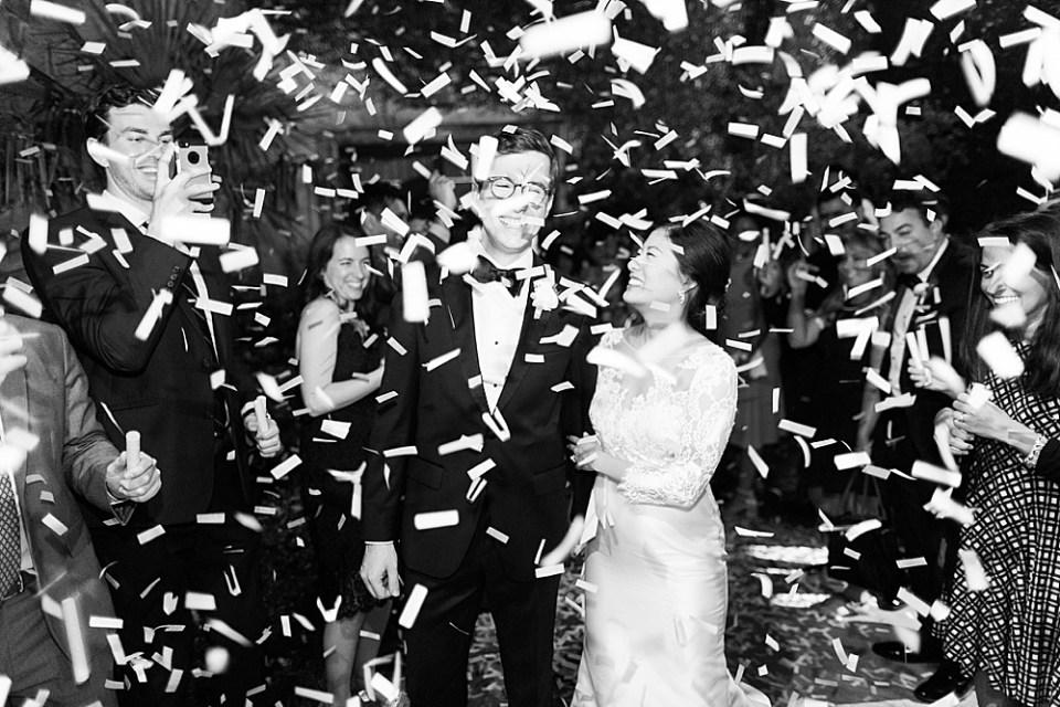 houston wedding bride and groom exit