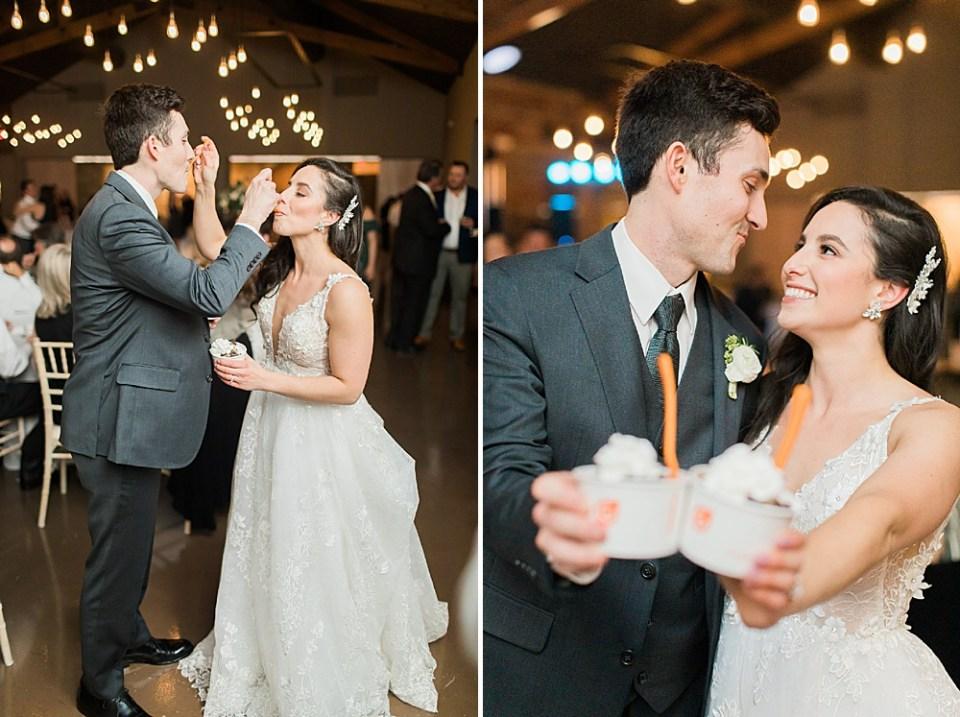 bride and groom ice cream