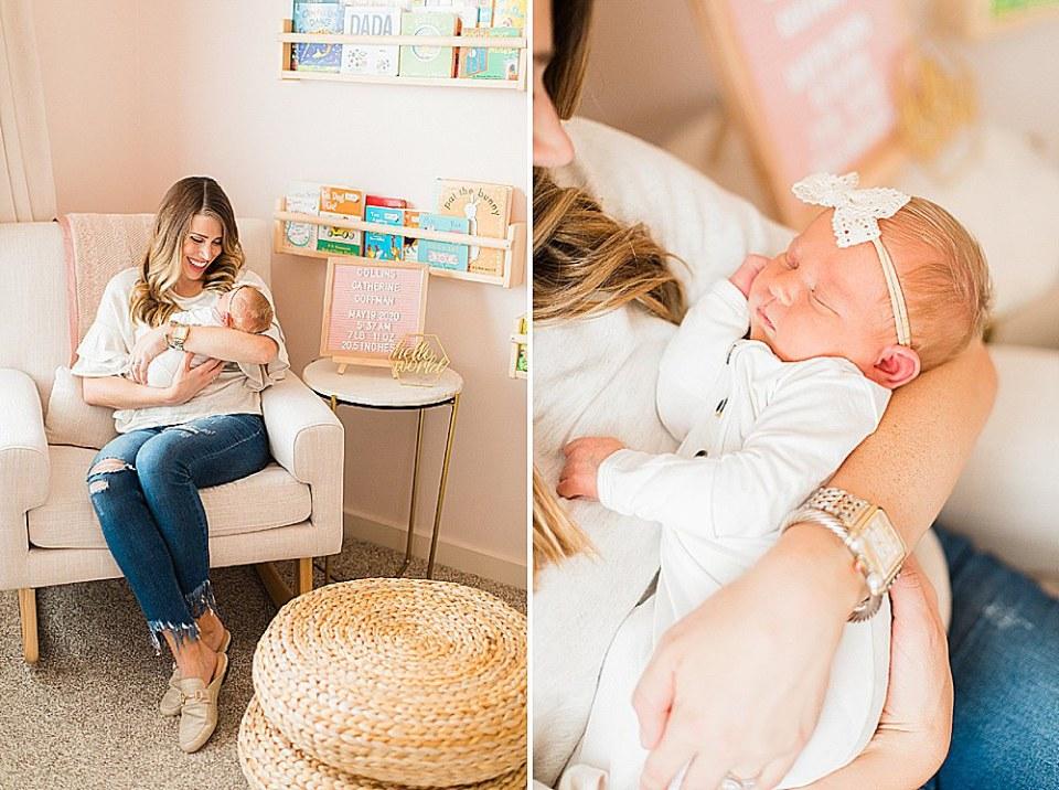 Pink nursery lifestyle newborn session