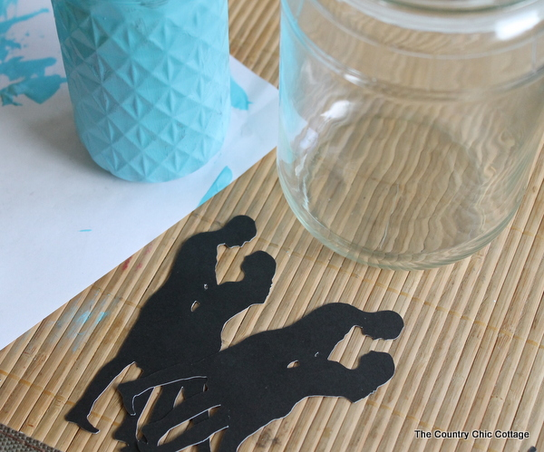 Silhouette Mason Jar Wedding Vase Centerpiece