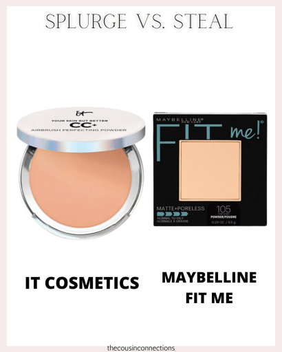 another IT Cosmetics vs Maybelline Fit Me splurge vs. steal.