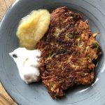 Crispy potato latkes plated
