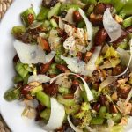 celery salad with dates, toasted almonds and Parmesan