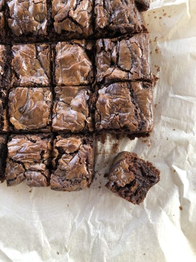 Nutella brownies cut up close-up