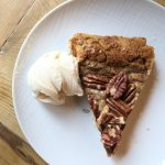 Pecan galette slice with ice cream