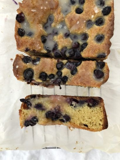 Lemon blueberry loaf cake close-up