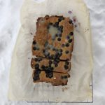 Lemon blueberry loaf cake in the snow