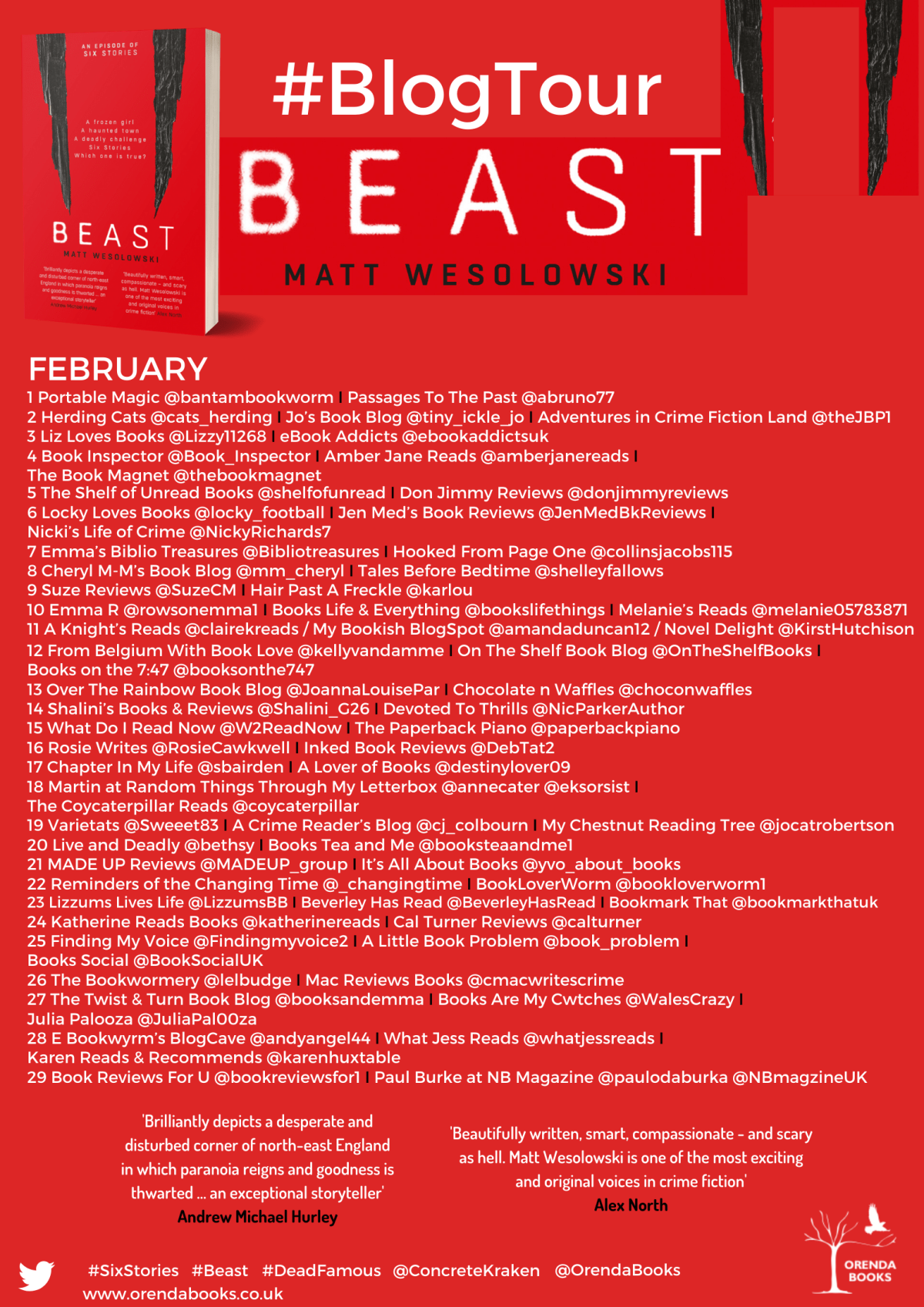 FINAL Beast BT Poster  - Blog Tour: Beast (Six Stories #4) by Matt Wesolowski