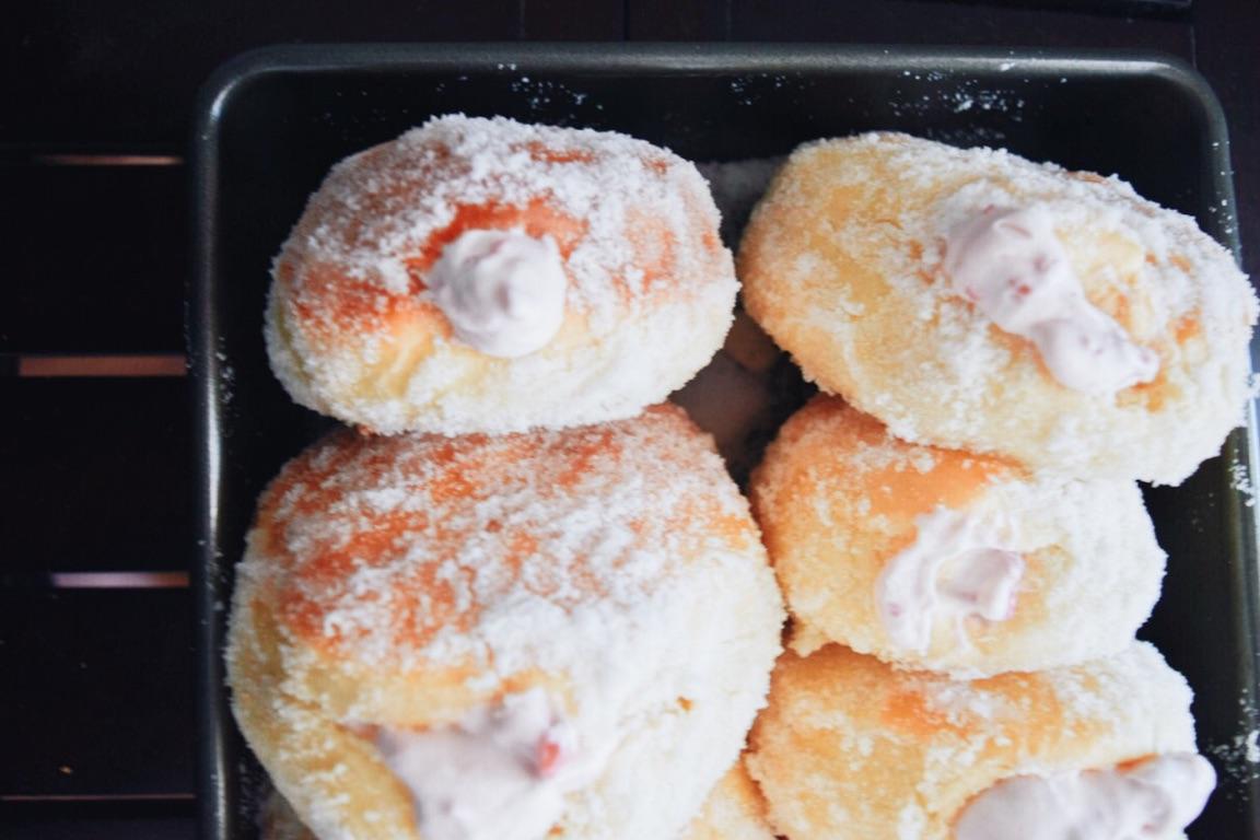 Raspberry Cream-Filled Doughnuts The Cozie