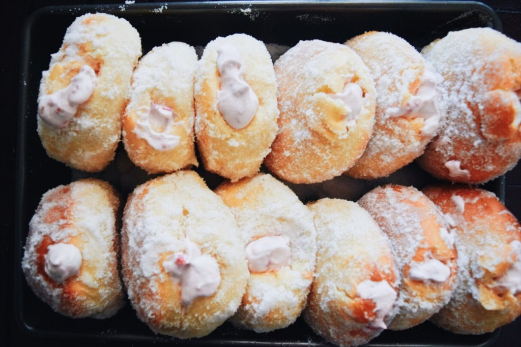 Raspberry Cream-Filled Doughnuts