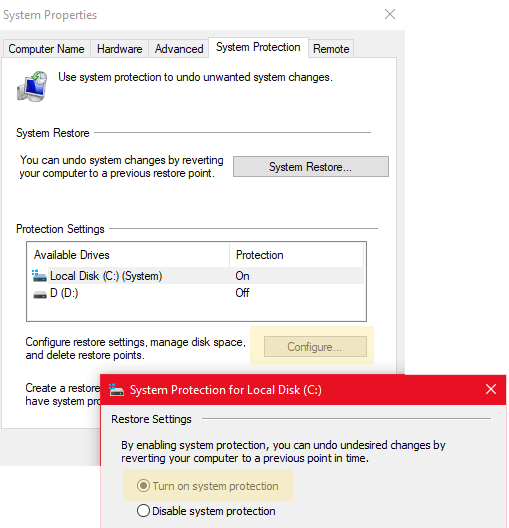 mmc exe turn on system protection in creating a restore point windows 10