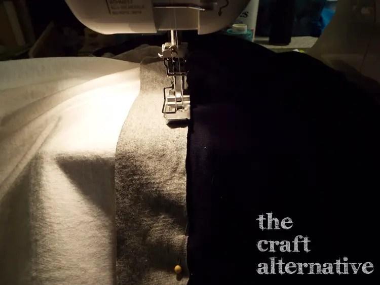 How to Make a T-Shirt into a Dress - stitch waistband