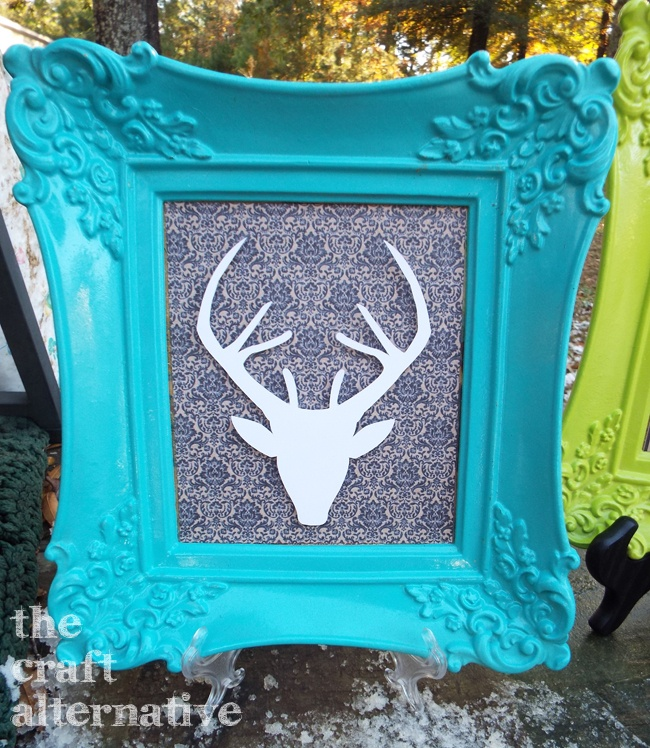 Framed Deer Wall Art_Turquoise
