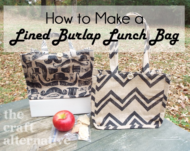 How to Make a Lined Burlap Lunch Bag_Caption