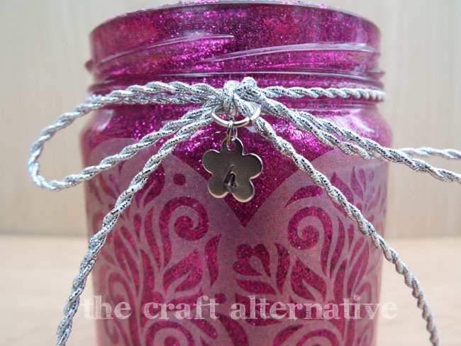 Add Glitter and Frosted Vinyl to a Recycled Jar_Closeup